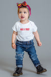 INFANT WHITE N RED MINI MEDI TEE