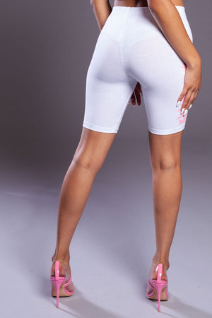 WHITE N PINK LONG MEDI BIKER SHORTS
