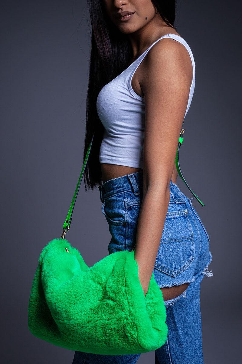 GREEN FUZZY PURSE