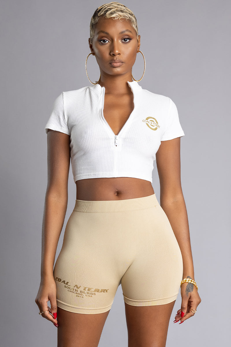 WHITE N GOLD VARSITY ZIPPER CROP TOP