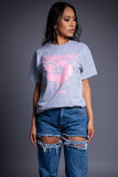 LIGHT GREY N PINK HAWAII TEE