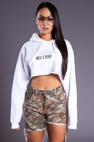 Dark Grey N White Mini Medi Crop Dist