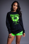 LONG SLEEVE BLK N GREEN HAWAII TEE