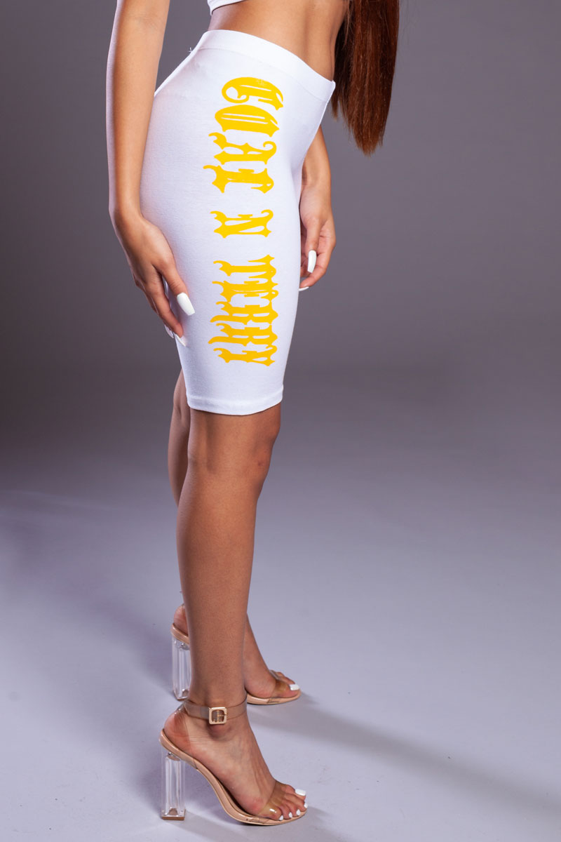 WHITE N YELLOW LONG MEDI BIKER SHORTS