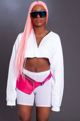 PINK MOLLY CROP - WHITE