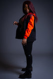 NEON ORANGE N BLK DENIM VEST HOODIE