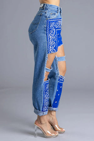 BLUE BANDANA PATCH DENIM