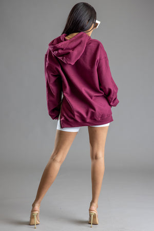 MAROON ZIP ME UP MINI MEDI HOODIE