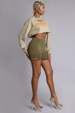 LONG SLEEVE ASH N ORANGE BURBS CROP TEE (DIS)