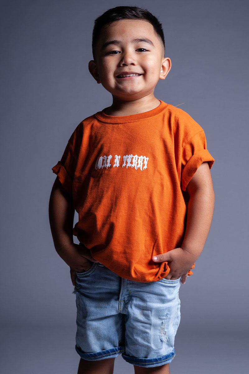 KIDS ORANGE N WHITE MINI MEDI TEE