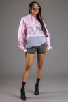 PINK N LIGHT GREY PATCHWORK CNT OVERLAY HOODIE