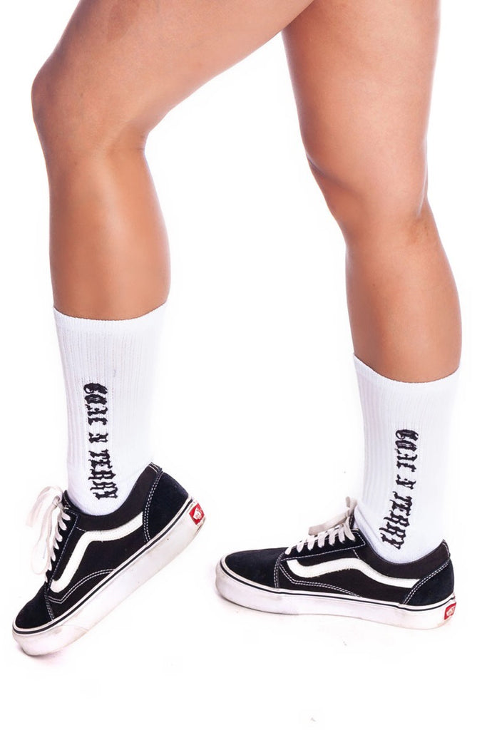 MINI MEDI SOCKS - WHITE N BLK