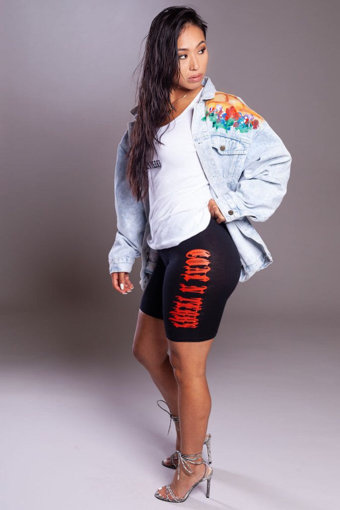 ORANGE N BLK LONG MEDI BIKER SHORTS