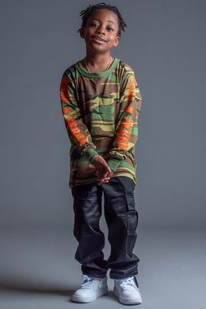 KIDS CAMO N ORANGE TRAP TEE