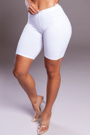 BASIC LONG BIKER SHORTS - WHITE