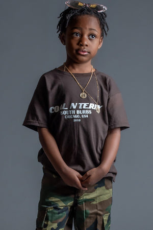 KIDS CHOCOLATE N WHITE BURBS TEE
