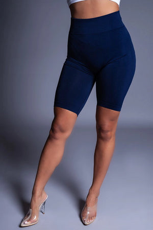 BASIC LONG BIKER SHORTS - NAVY BLUE