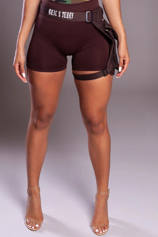 MINI MEDI BIKER SHORTS - BLK N ORANGE