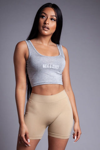 LIGHT GREY N BLK MINI MEDI CROP TEE