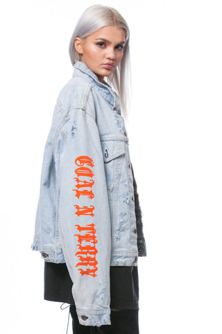 TRASHED TRAP DENIM CROP JACKET