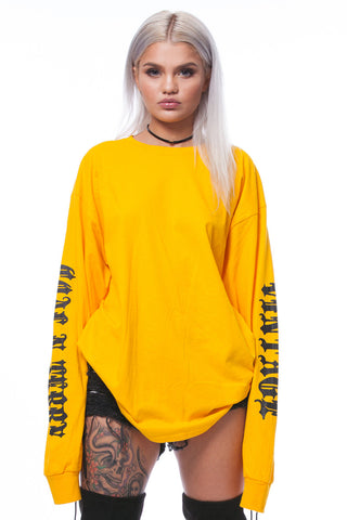 GUYS YELLOW N BLK TRAP TEE
