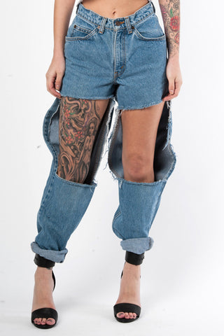 BLK BACK UP TRAP JEANS