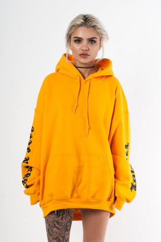 Yellow N Black Trap Cropped Hoodie
