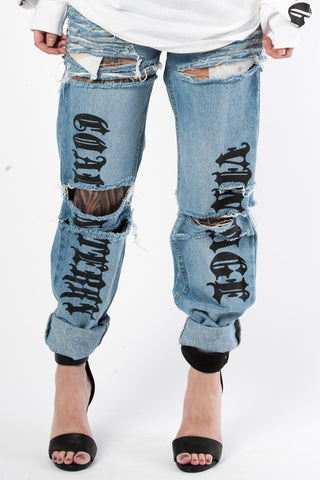 Black Massive Shredded Jeans