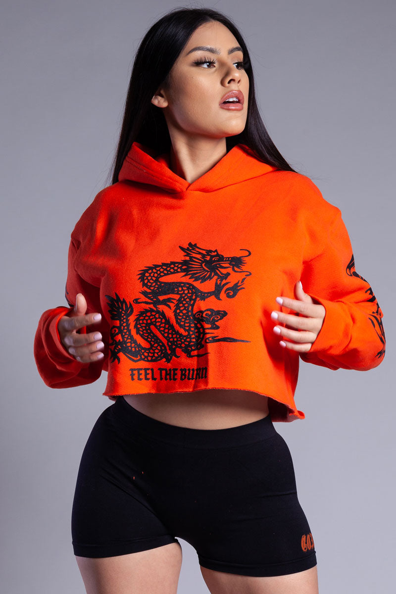 ORANGE N BLACK CROPPED FTB TRAP HOODIE