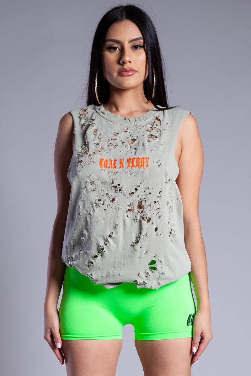 ASH N ORANGE MINI MEDI CROP TANK - DIS