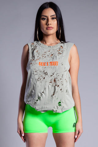 NEON GREEN N ORANGE MINI MEDI CROP TANK - DIS