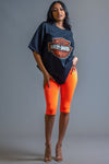 BASIC LONG BIKER SHORTS - NEON ORANGE