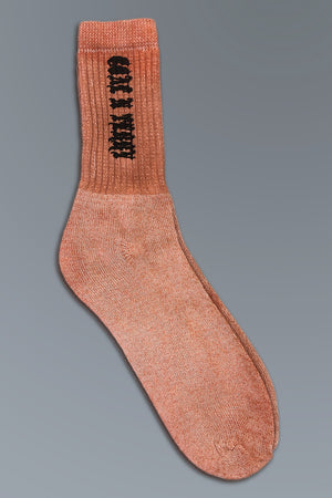 MINI MEDI SOCKS - ORANGE N BLK