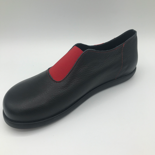 Clamp Bevan slip on shoe black leather with red elastic - Imeldas Shoes Norwich