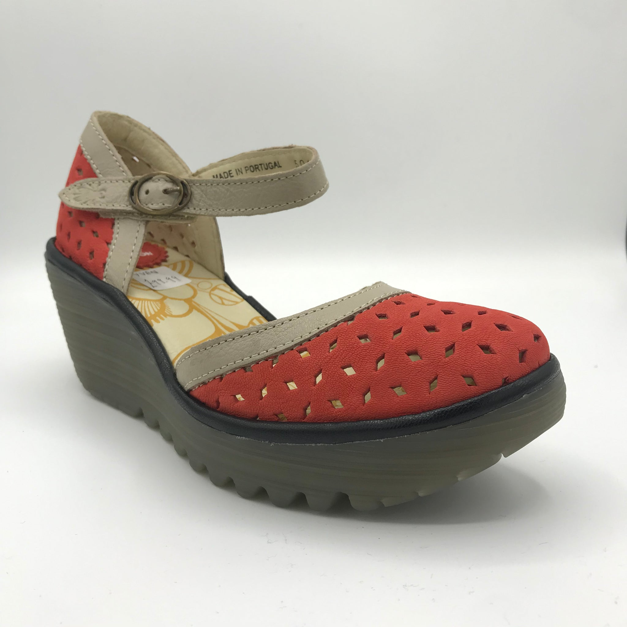 Fly London Yven Red/Black/Concrete Shoe - Imeldas Shoes Norwich