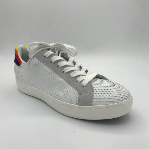 Meline White Textured Trainer - Imeldas Shoes Norwich