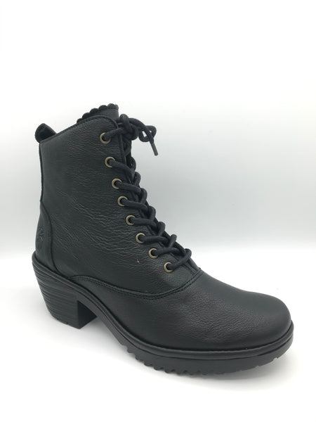Wune Black Leather - Imeldas Shoes Norwich