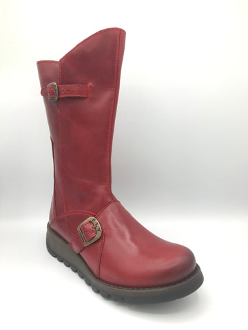 Mes 2 Red Leather Boot - Imeldas Shoes Norwich