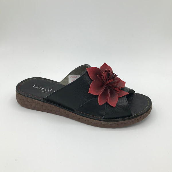 Laura Vita Hezco Black Slip on Sandal - Imeldas Shoes Norwich