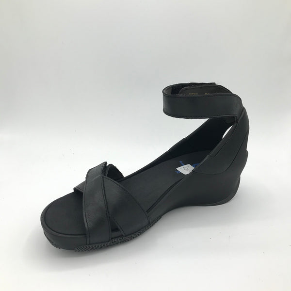 Wolky Era Black Leather Sandal - Imeldas Shoes Norwich