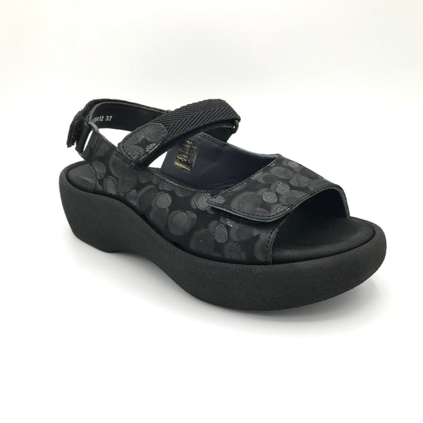 Wolky Jewel Black Circles Sandal - Imeldas Shoes Norwich