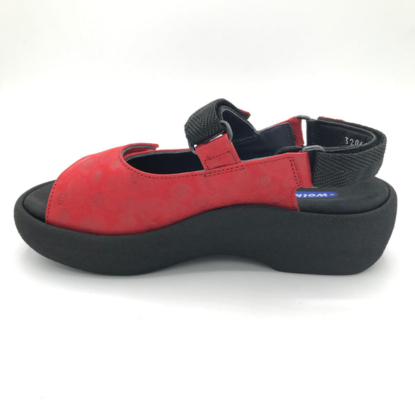 Wolky Jewel Circle Red Sandal - Imeldas Shoes Norwich