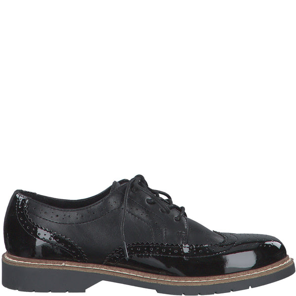 S Oliver Womens Shoe 23604 Black brogue - Imeldas Shoes Norwich