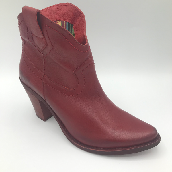 Felmini 8096 red zip ankle cowboy boot - Imeldas Shoes Norwich