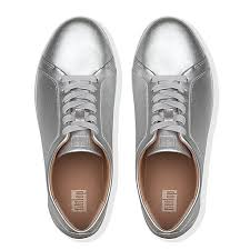 Fitflop Rally Leather Trainer Silver