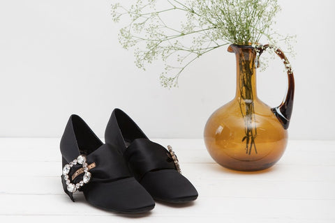 Patty Black Silk Mary Janes with Crystal Buckle - Imeldas Shoes Norwich