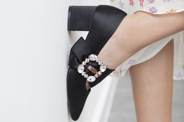 Patty Black Silk Mary Janes with Crystal Buckle