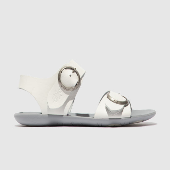 Fly Masa White Buckle Sandal