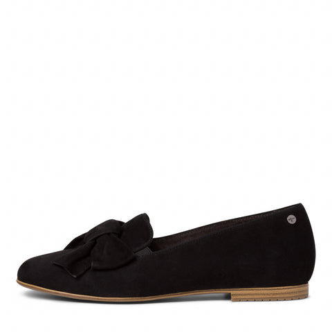 Tamaris 1-1-24229-24 Black Suede Slip On Shoe With Bow