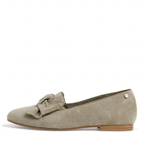 Tamaris 1-1-24229 Olive Suede Slip On Shoe With Bow